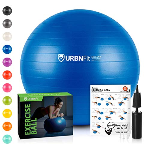 URBNFit Exercise Ball (Multiple Sizes) for Fitness, Stability, Balance & Yoga - Workout Guide & Quick Pump Included - Anit Burst Professional Quality Design (Blue, 45CM) ()