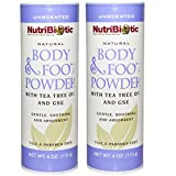 NutriBiotic Body & Foot Unscented Powder (Pack of 2) with Tea Tree Leaf Oil, Corn Starch, Sodium Bicarbonate and Grapefruit Seed Extract, 4 oz.