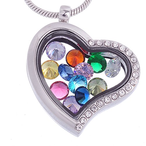 RUBYCA Living Memory Heart Locket Necklace 12 Round Crystal Birthstones Floating Charms Silver ()