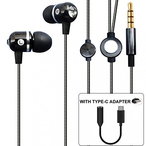 Moto Z2 Force Compatible Premium Sound Hands-free Headset Earphones w Mic TYPE-C Audio Adapter Headphones Jack Metal Sleek Earbuds Black for Motorola Moto Z2 ()
