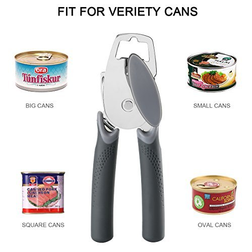 Can Opener, Best Manual Can Opener Smooth Edge Good Grips with Built-in Bottle Opener - Hand Held Stainless Steel Can Opener by Catnee (Image #1)