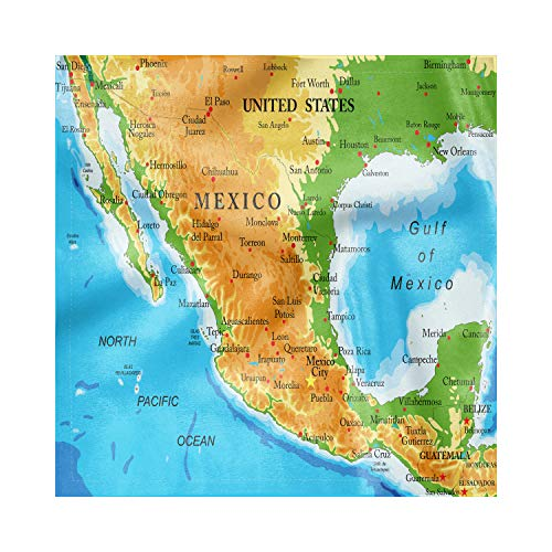 Ambesonne Cacun Satin Napkins Set of 4, Detailed Map of Mexico Oceans, 12