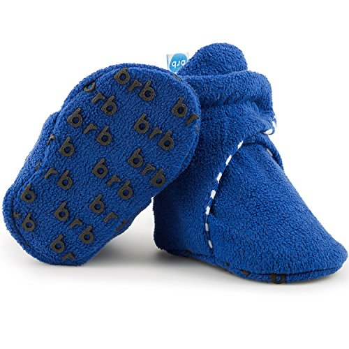 Fleece Baby Booties - Organic Cotton & Gripper Bottoms, Cozy Boys & Girls Bootie (US 5.5, Anchor Blue)