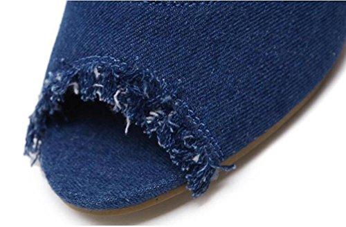 Sandalias de vaquero Encantador Cristal 11 cm Tacón Peep Toe Casual Tubo Femenino Alto Botas UE Tamaño 35-40 Blue