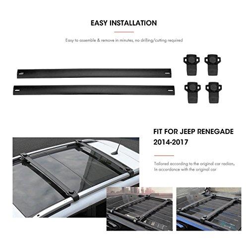 Roof Rack Cross Bars by Partol,2PCS 165LBS/75KG Roof Rack Crossbars Luggage Racks For 2014-2017 Jeep Renegade -  Partol-101