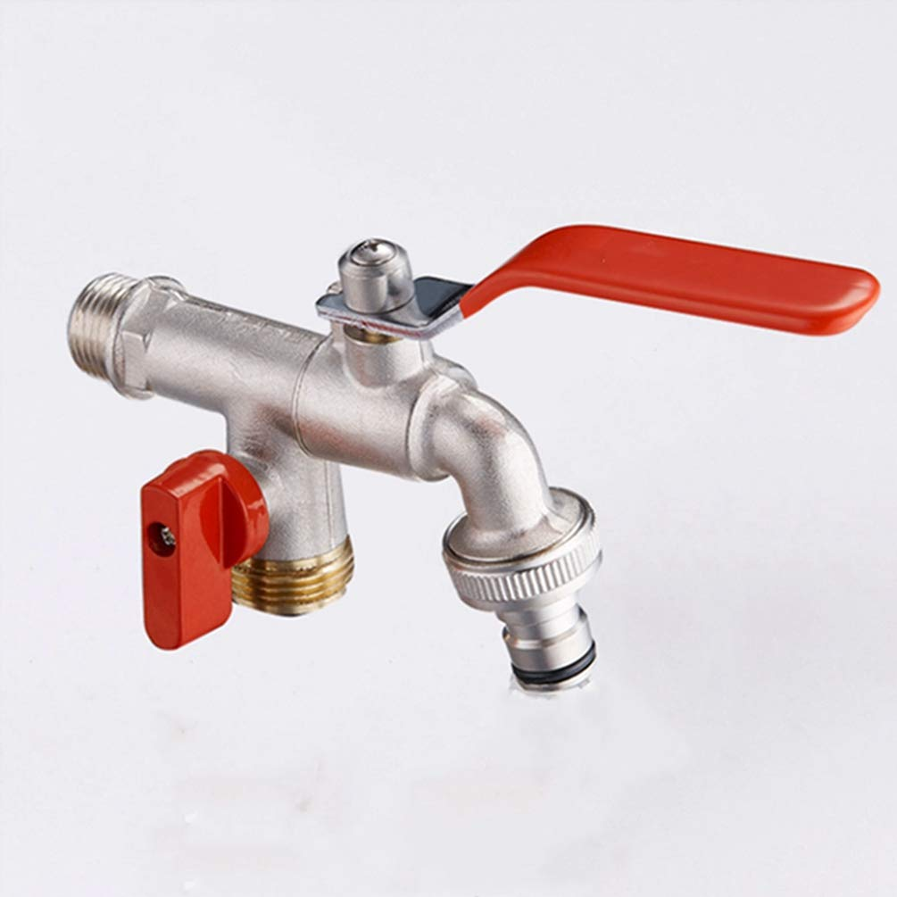 FZHLR Brass Finished Washing Machine Double Head Water Faucet Dual Holder Single Hole Water Nozzle Bibcocks