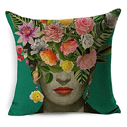 Amazon Hlppc Cushion Cover Beautiful Women With Colorful