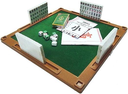 ZJY Juego de Mahjong, Kit de Juego Chino en Miniatura: con Mesa Plegable 144 Mini-Azulejos, Estuche y Accesorios: adecuados para Viajes al Aire Libre, hogar y reunión: Amazon.es: Hogar