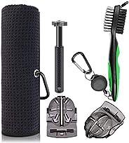 Gzingen Microfiber Waffle Pattern Golf Towel, Brush Tool Kits with Club Groove Cleaner Brush, Golf Club Groove