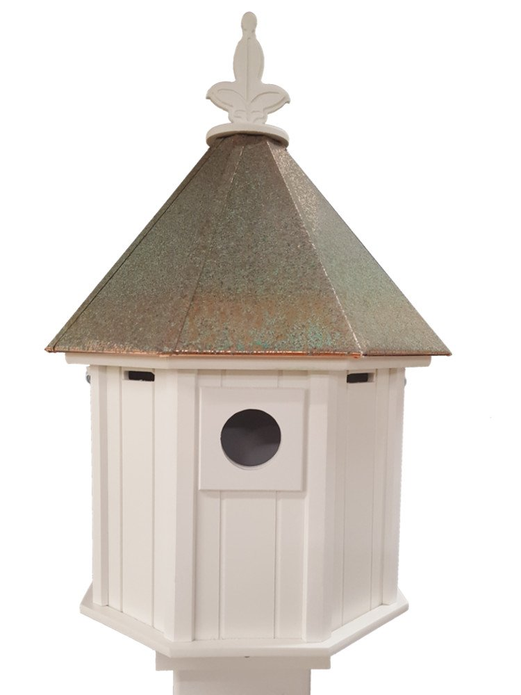 Octagon Bird House Song Bird Cellular PVC Verdigris Copper Roof Made In the USA