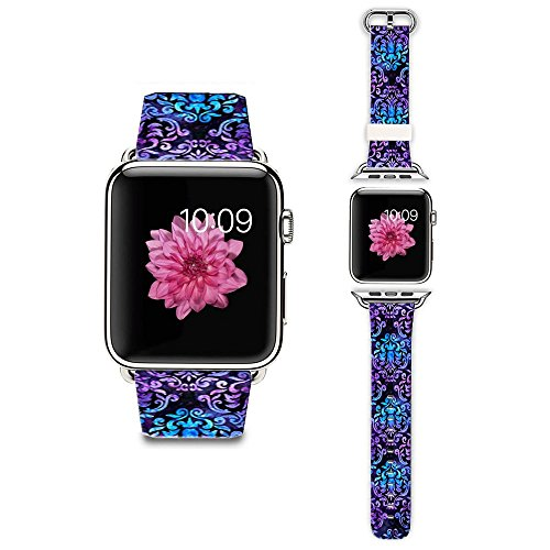 Apple Watch Strap Apple Watch Band 38MM Genuine Leather Strap Wristband With Free Adapters for Apple Watch/ Sport/ Edition 38mm-Star purple fleur de (Fleur Leather)