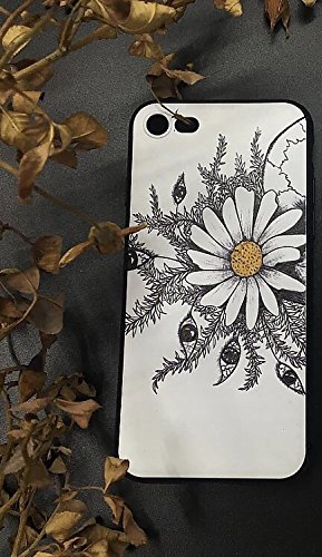 Case+Tempered_Glass Premium Quality Soft Gel Skin Snap on Cover Fits Apple iPhone 6 Plus/6S Plus Hand Drawing Embossed White Daisy and Eyes (Box is not Included.) ()