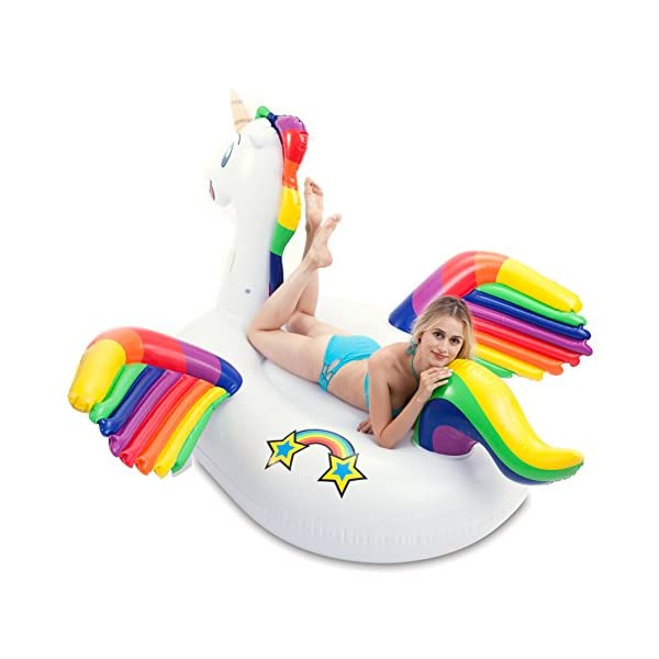JOYIN Giant Inflatable Unicorn Pool Float with Wings, Alicorn/Pegasus Beach Floats, Swim Party Toys, Pool Island, Summer… 5