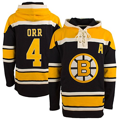 ('47 Boston Bruins Bobby Orr Heavyweight Jersey Lacer Hoodie - Large)