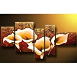 Santin Art- 5 Pics Calla Lily Flower Large Abstract Modern 100% Hand Painted Oil Painting on Canvas Wall Art Deco Home Decoration (Unstretch No Frame)