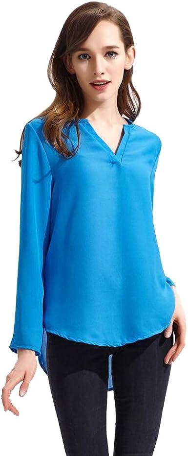 ISSHE Blusas de Vestir Manga Larga Cuello en V Blusa Gasa Fiesta Camisas Mujer Camisetas Largas Elegantes Dama Bonitas Blusas Top para Señoras Blusones Anchas Camiseta Casual Lindas Dama: Amazon.es: Ropa y