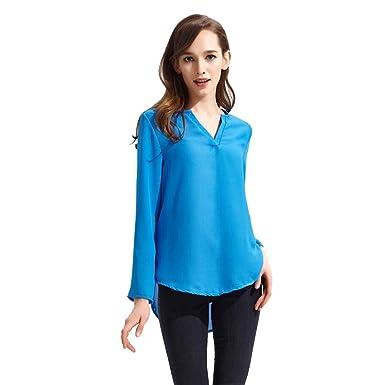 9ed6188c60 ISSHE Blusas de Vestir Manga Larga Cuello en V Blusa Gasa Fiesta Camisas  Mujer Camisetas Largas Elegantes Dama Bonitas Blusas Top para Señoras  Blusones ...