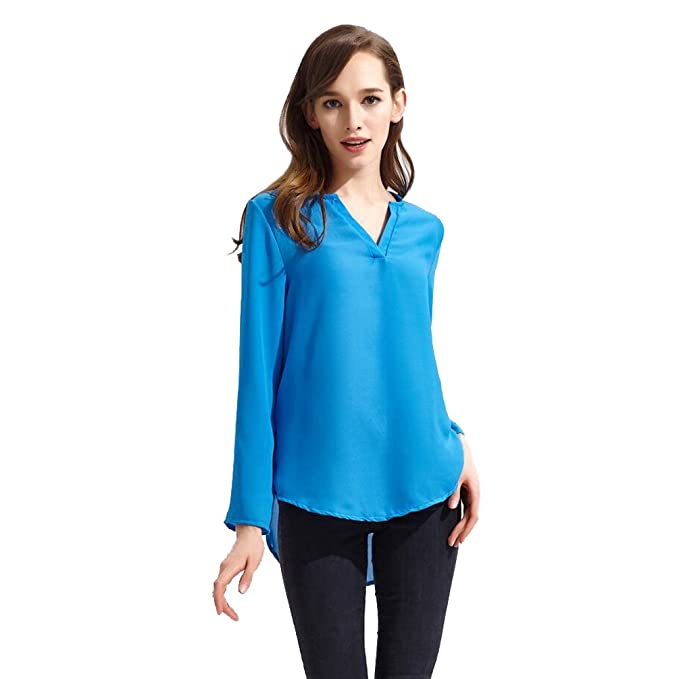 ISSHE Blusas de Vestir Manga Larga Cuello en V Blusa Gasa Fiesta Camisas Mujer Camisetas Largas Elegantes Dama Bonitas Blusas Top para Señoras Blusones ...
