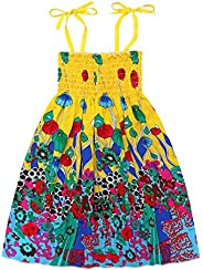 MetCuento Toddler Baby Girls Summer Dress Outfits Ruffle Strap Flower Print Tutu Skirt Sunsuit Beachwear Cloth