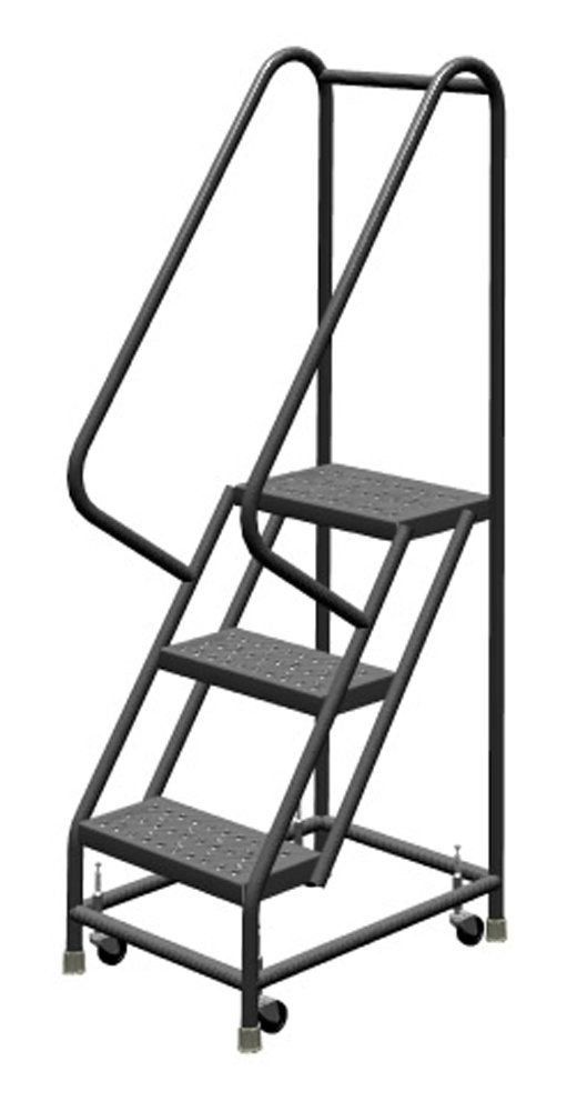 Tri-Arc KDSR103166 3-Step Steel Rolling Industrial and Warehouse Ladder with Handrails and 16'' Wide Perforated Tread