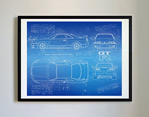 (DolanPaperCo #225 Nissan R33 GTR 1995 Art Print, da Vinci Sketch - Unframed - Multiple Size/Color Options (11x14, Blueprint))