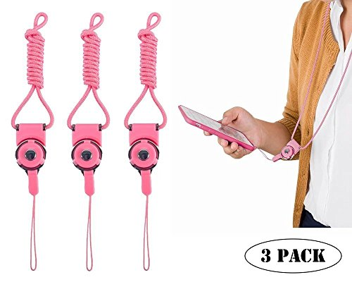 Detachable Sling Hook Lanyard Necklace Wrist & Neck Strap Keychain Wristlet for Mobile Phone & Office Portable item (3 Pack - Pink)