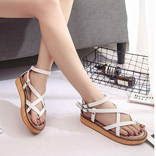 Femmes Cross Ouvert De Réglable Blanc Boucle Plate Forme Chaussures BqxIwFX