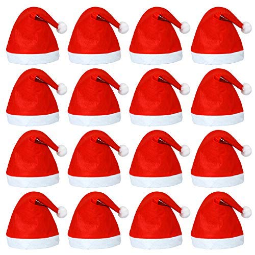Elcoho 20 Pack Santa Red Hat Short Plush with White Cuffs Non-Woven Fabric Christmas Hat Santa Hat for Adults (Red) ()