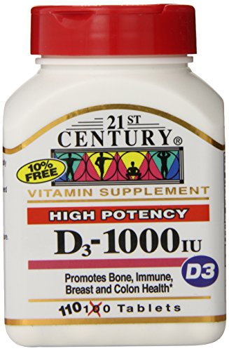 21st Century D 1000 iu Tablets, 110-Count (Pack of 3) (Count Pack Tablets 110)