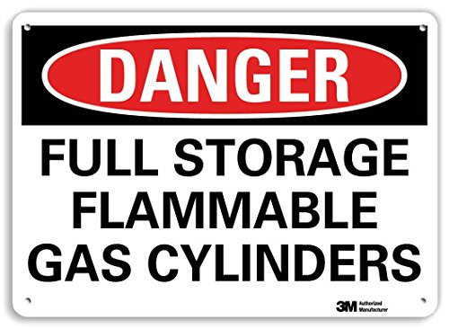 SmartSign by Lyle U3-1524-RA_14X10 DANGER FULL STORAGE FLAMMABLE GAS CYLINDERS Reflective Recycled Aluminum Sign, 14