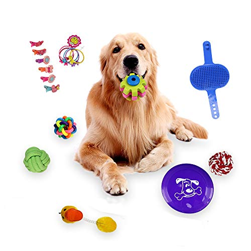 Hisoul Pet Toys Set - 15 Pcs Dog Chew Toys, Vocal Plush Duck, Colorful Bells, Bite Cotton Rope Ball Etc - Fun Playing Interactive Smart Game Pet Gift Toy (Mulitcolor)
