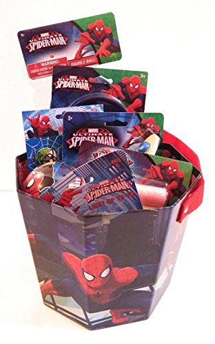 Spiderman Summer Toys Bucket of Fun Paddle Ball Light-Up Yo-Yo Glider Chalk Bubbles Ball and PEZ Dispenser and PEZ Candy for $<!--$26.00-->