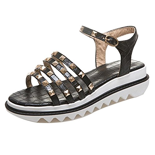 Sandals Fashion Black Women Coolcept Flatform Shoes x6nwt5Cgq