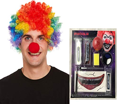 Adults Killer Clown Make Up Kit And Rainbow Clown Wig Fancy Dress Accessory Set (Killer Clown Accessory Kit, One Size(2 Pcs)) -