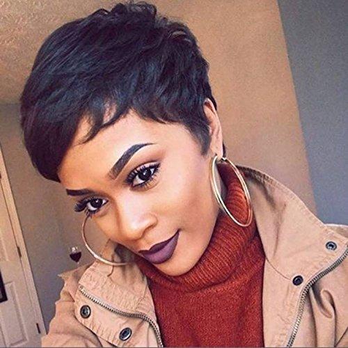 SeaSense Short Straight Wig Pixie Cute Cut Human Hair Wig for Black Women Straight Natural Balck Wigs 1B ()