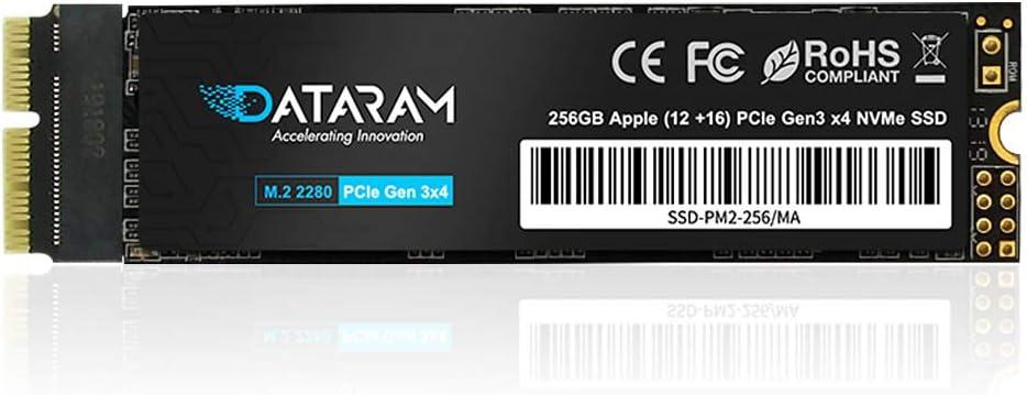 DATARAM 256GB M.2 M-Key PCIe NVMe SSD for 2013-16 MacBook, Mac Pro, Air, Mini, iMac