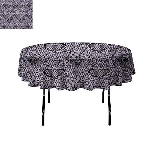 (GloriaJohnson Gothic+Easy+to+Care+for+Leakproof+and+Durable+Round+tablecloths+Black+Lace+Style+Needlecraft+Pattern+with+Ornate+Flowers+Feminine+Victorian+Motifs+Outdoor+Picnic+D67+InchLilac+Black+)