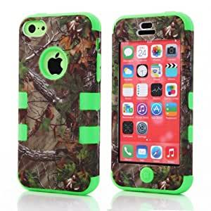 Branch Pattern Plastic Hard Case Camo Triple Hybrid Green Silicone Cover For iPhone 5C