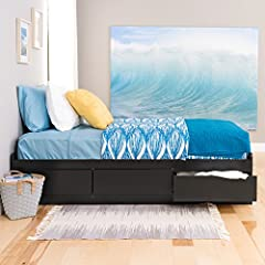 """This Twin XL Storage Bed is 5 inches longer than a standard twin making it ideal for teenagers and College students. Underneath are 3 large storage drawers (20"""" depth) that run on smooth running metal drawer glides. Every room needs more stor..."""