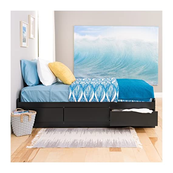 Prepac Mate's Platform Storage Bed with 3 Drawers, Twin, Black - Drawers run on smooth, all-metal roller glides with built-in safety stops Constructed from high quality laminated composite woods Assembly Required - bedroom-furniture, bedroom, bed-frames - 51xJx7YJ65L. SS570  -