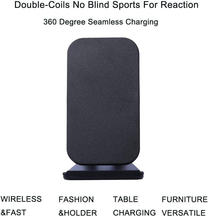 Fast Wireless Charger Pad Phone Stand Holder Wireless Charger for iPhone X//XS MAX//XR//8//8PLUS,QI Double Coil Wireless Transmitter for Samsung Galaxy S9//S9+//S8//S8+//Note8 Black