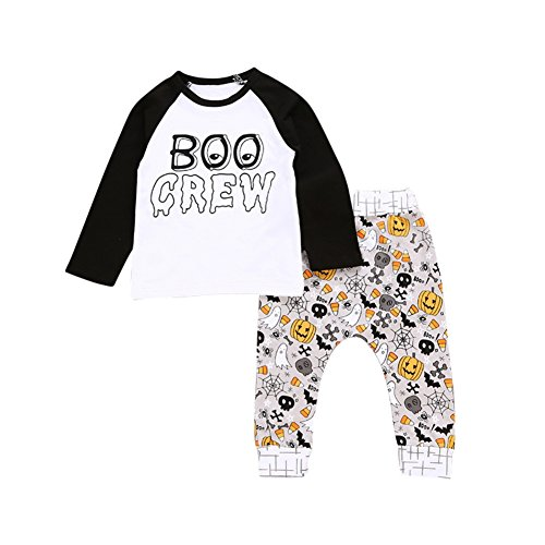 PanDaDa 2 PCs Newborn Infant Baby Boys Girls Outfit Sets Halloween Pumpkin Print Sweatshirts Tops + Pants