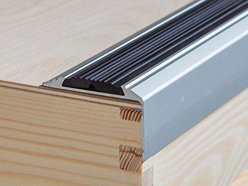 IANPAV ANODISED Aluminium Anti Non Slip Stair Edge Nosing Trim 1200mm x 46mm x 30mm A38, Silver,