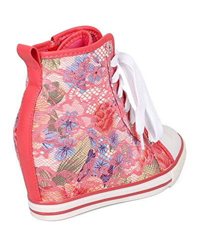 Lace Breeze Women Sneaker Coral CG72 Floral Up Lace Nature Wedge Zip nFgXqd44x