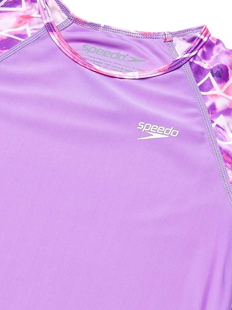 Speedo Girls UV Swim Shirt Short Sleeve Printed Rashguard