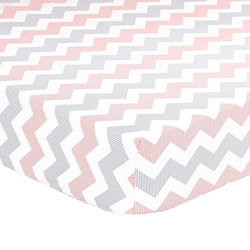 Coral Peach, Grey, White Zig Zag Print Fitted Crib Sheet - 100% Cotton Baby Geometric Chevron Uptown Girl Nursery and Toddler - Baby Bedding Uptown