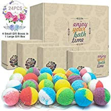 24 Organic & Natural Bath Bombs, Handmade Bubble Bath Bomb Gift Set, Rich in Essential Oil, Shea Butter, Coconut Oil, Grape Seed Oil, Fizzy Spa to Moisturize Dry Skin, Perfect Gift idea For Women