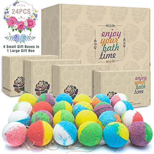 24 Organic & Natural Bath Bombs, Handmade Bubble Bath Bomb Gift Set, Rich in Essential Oil, Shea Butter, Coconut Oil, Grape Seed Oil, Fizzy Spa to Moisturize Dry Skin, Perfect Gift idea For Women ()
