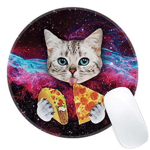 Galdas Mouse Pad Galaxy Space Cat Print Mousepad Antique Decorate Mouse Pads Round Non Slip Gaming Mouse Pad (Updated Version) (Space cat)