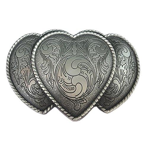 Heart Floral Buckle - Vintage Triple Love Hearts Flower Floral Belt Buckle Western Cowgirl Lady Unisex